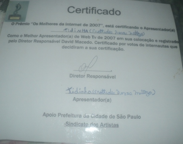 CERTIFICAD- APRESENTADORA 2007